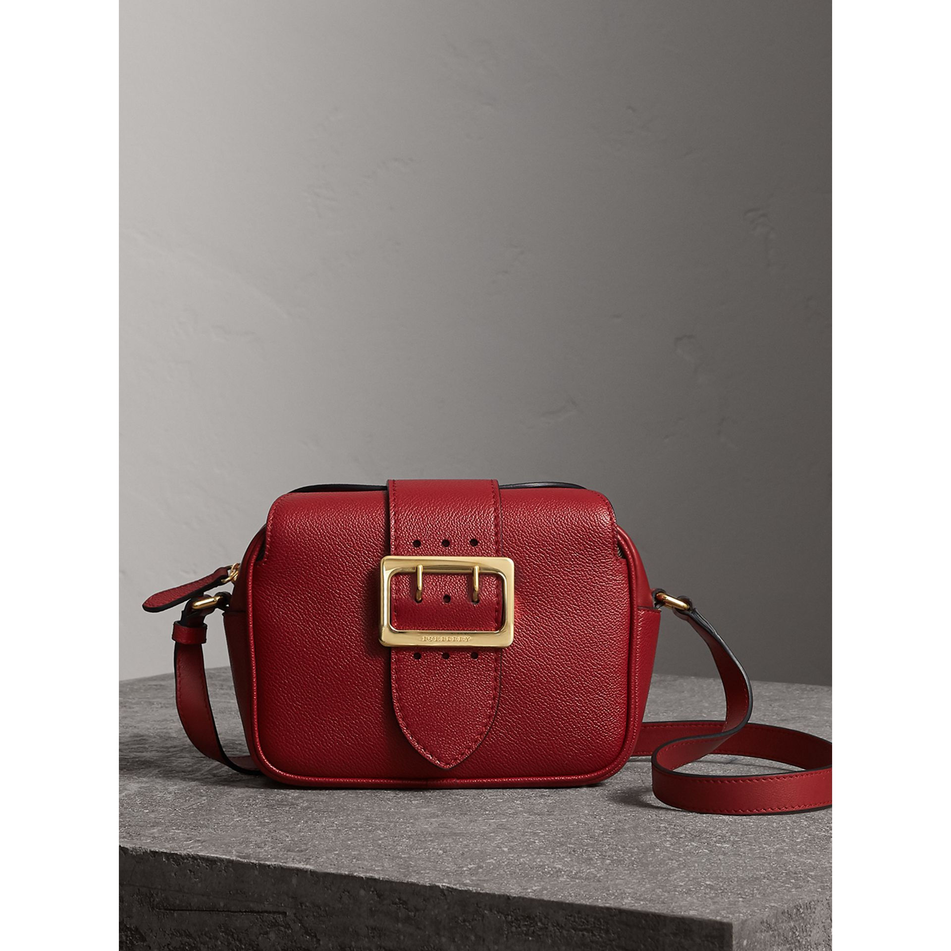 The Small Buckle Crossbody Bag in Leather in Parade Red - Women | Burberry - gallery image 1