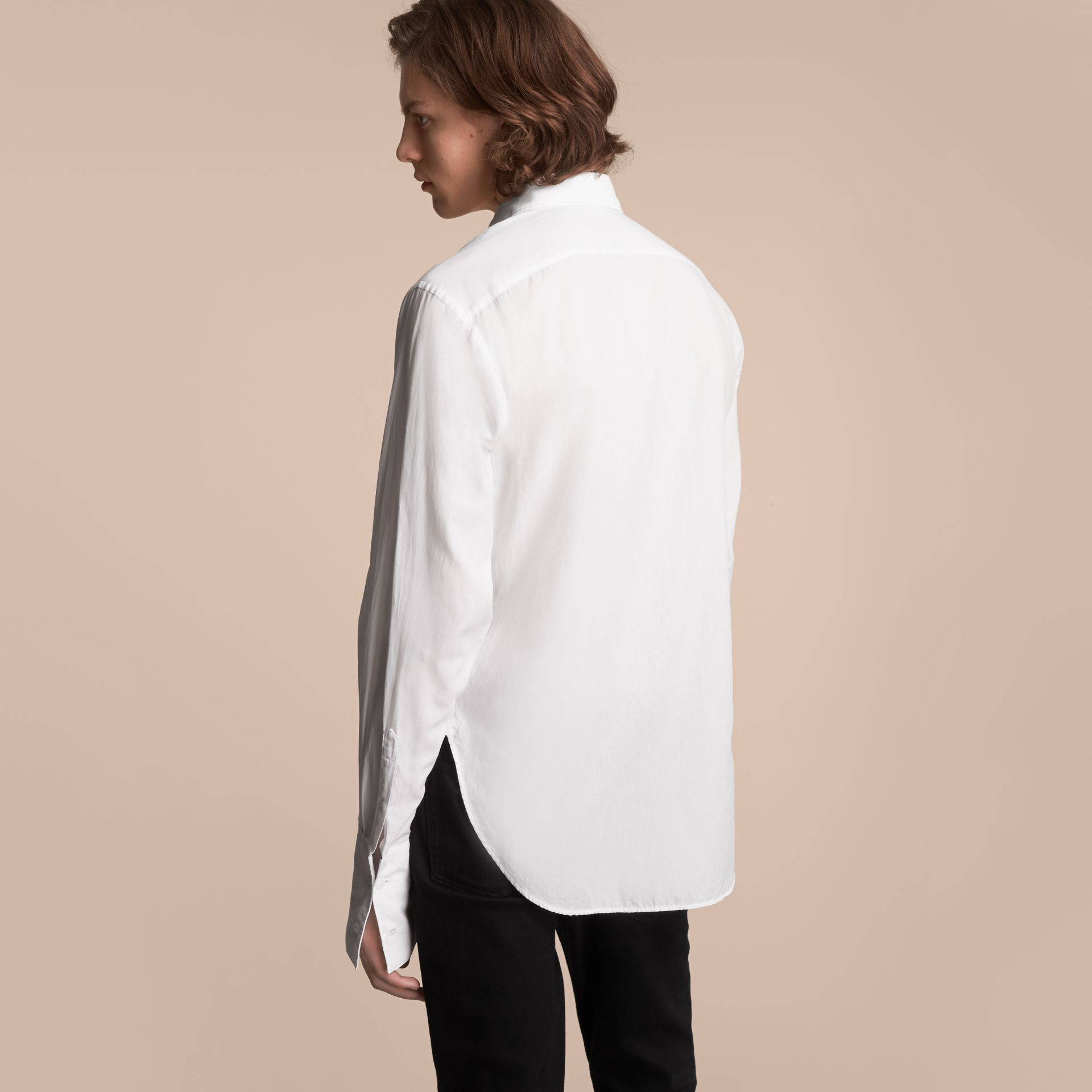 Unisex Double-cuff Pintuck Bib Cotton Shirt in White - Men | Burberry - gallery image 3