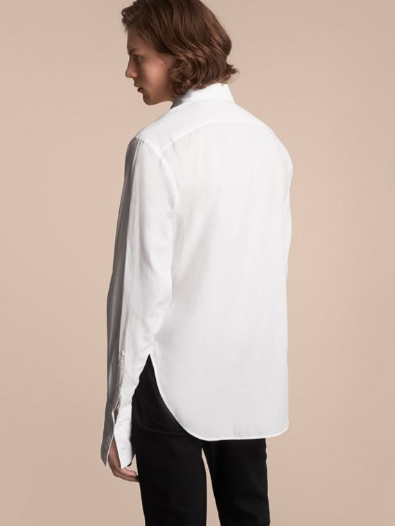 Unisex Double-cuff Pintuck Bib Cotton Shirt in White - Men | Burberry - cell image 2