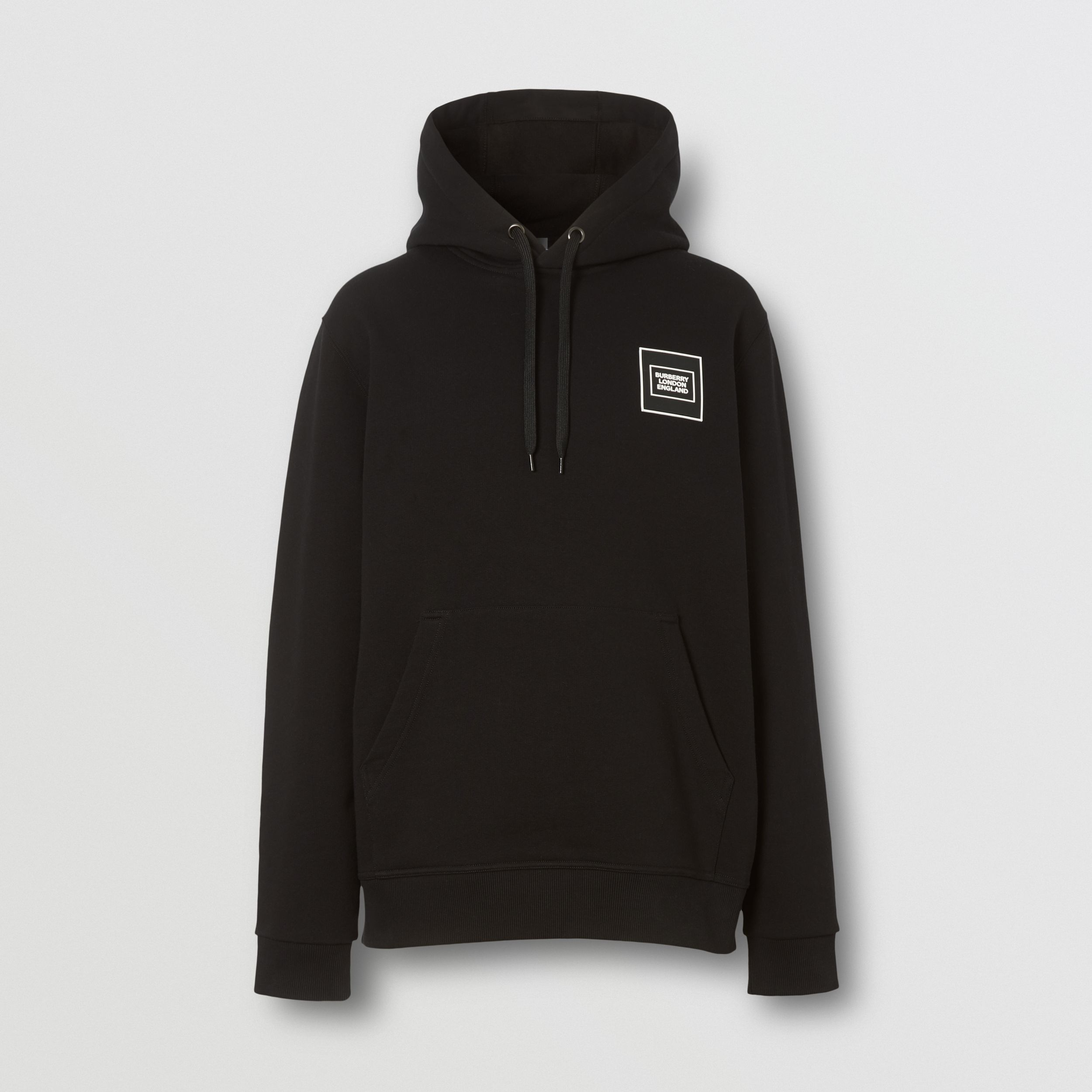 Logo Appliqué Cotton Hoodie in Black - Men | Burberry - 4