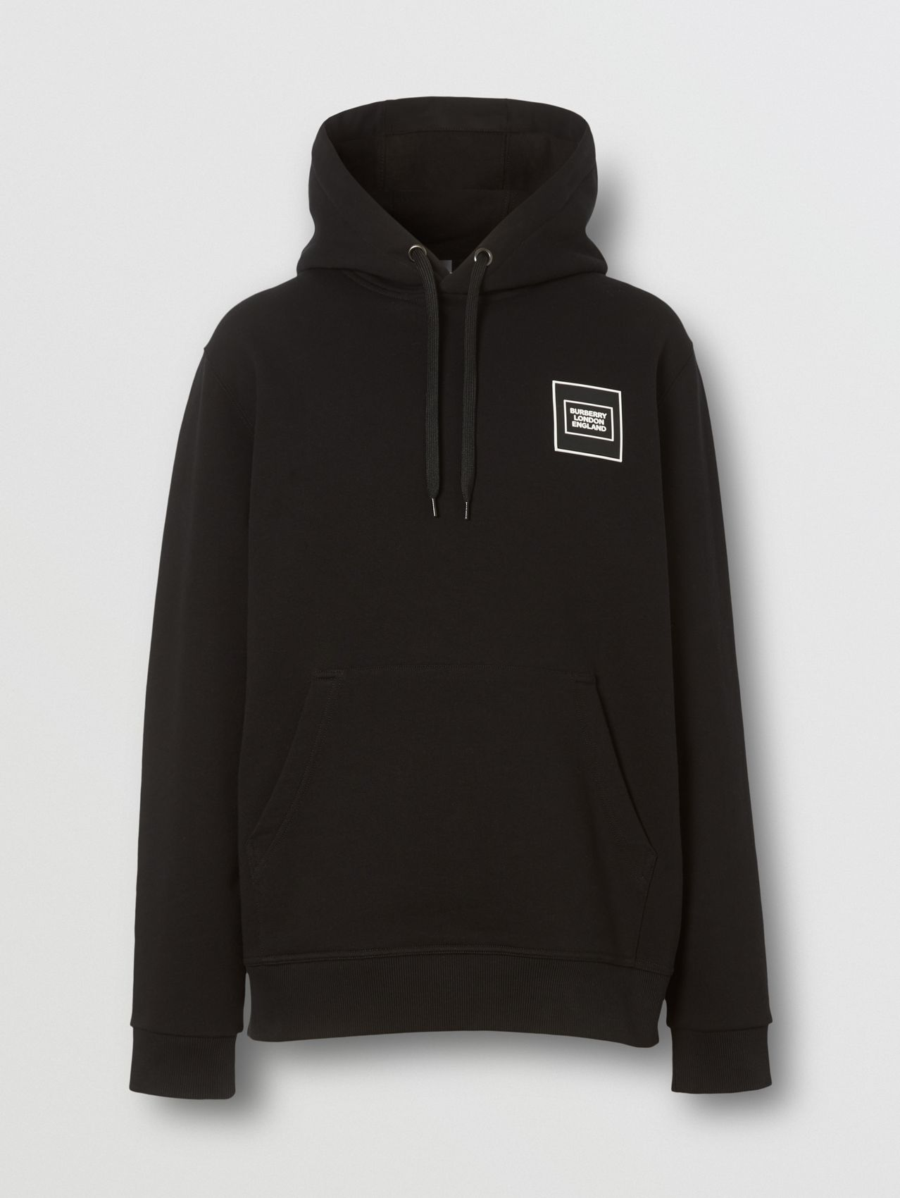 Logo Appliqué Cotton Hoodie in Black