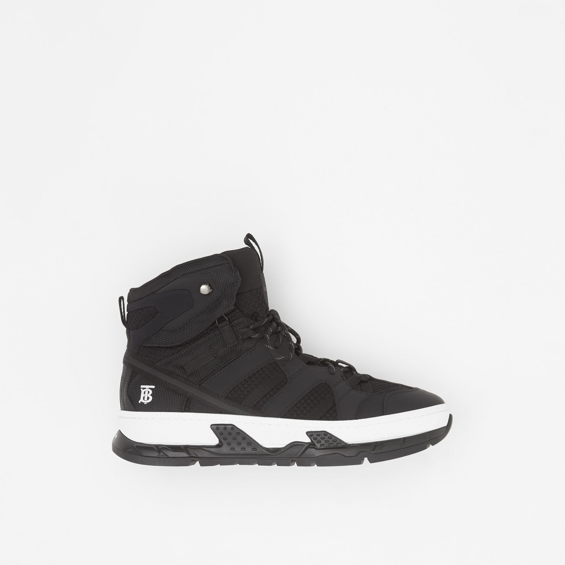 Mesh and Nubuck Union High-top Sneakers in Black - Men | Burberry - gallery image 0