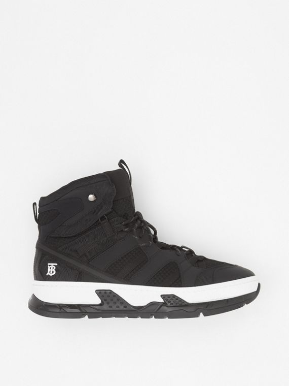 Monogram Motif Mesh and Nubuck High-top Sneakers in Black