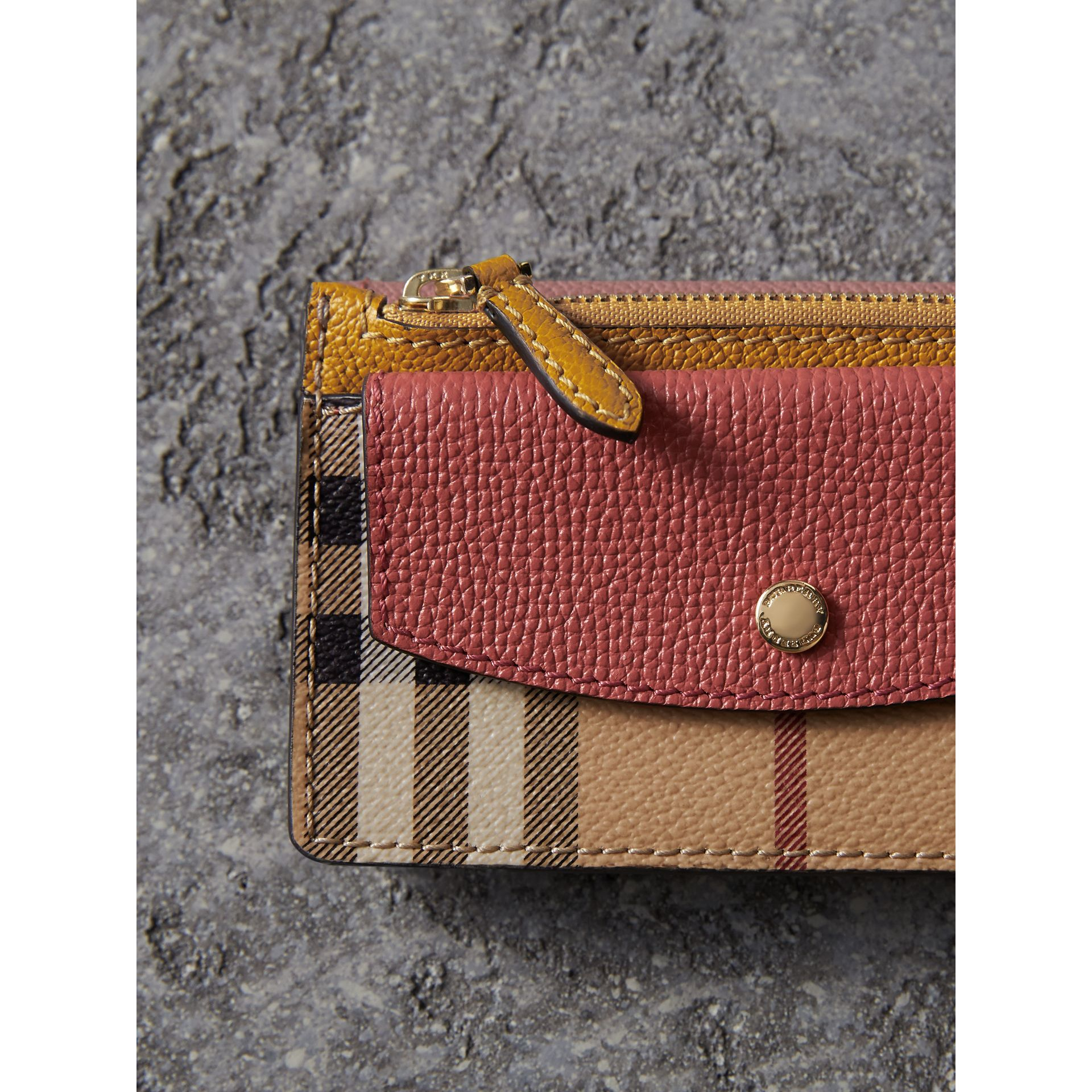 Leather and Haymarket Check Mini Wallet in Dusty Pink / Multicolour - Women | Burberry - gallery image 5