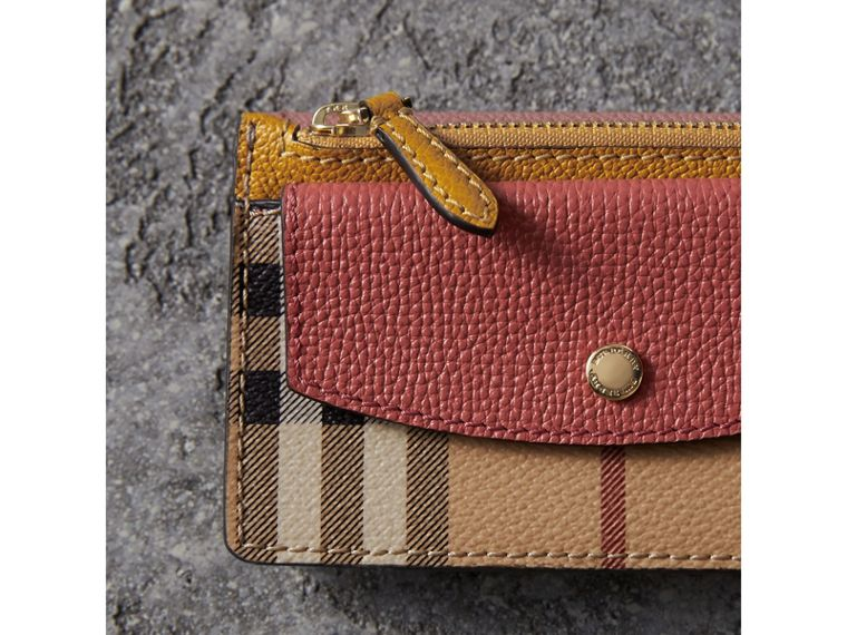 Leather and Haymarket Check Mini Wallet in Dusty Pink / Multicolour - Women | Burberry Singapore - cell image 4