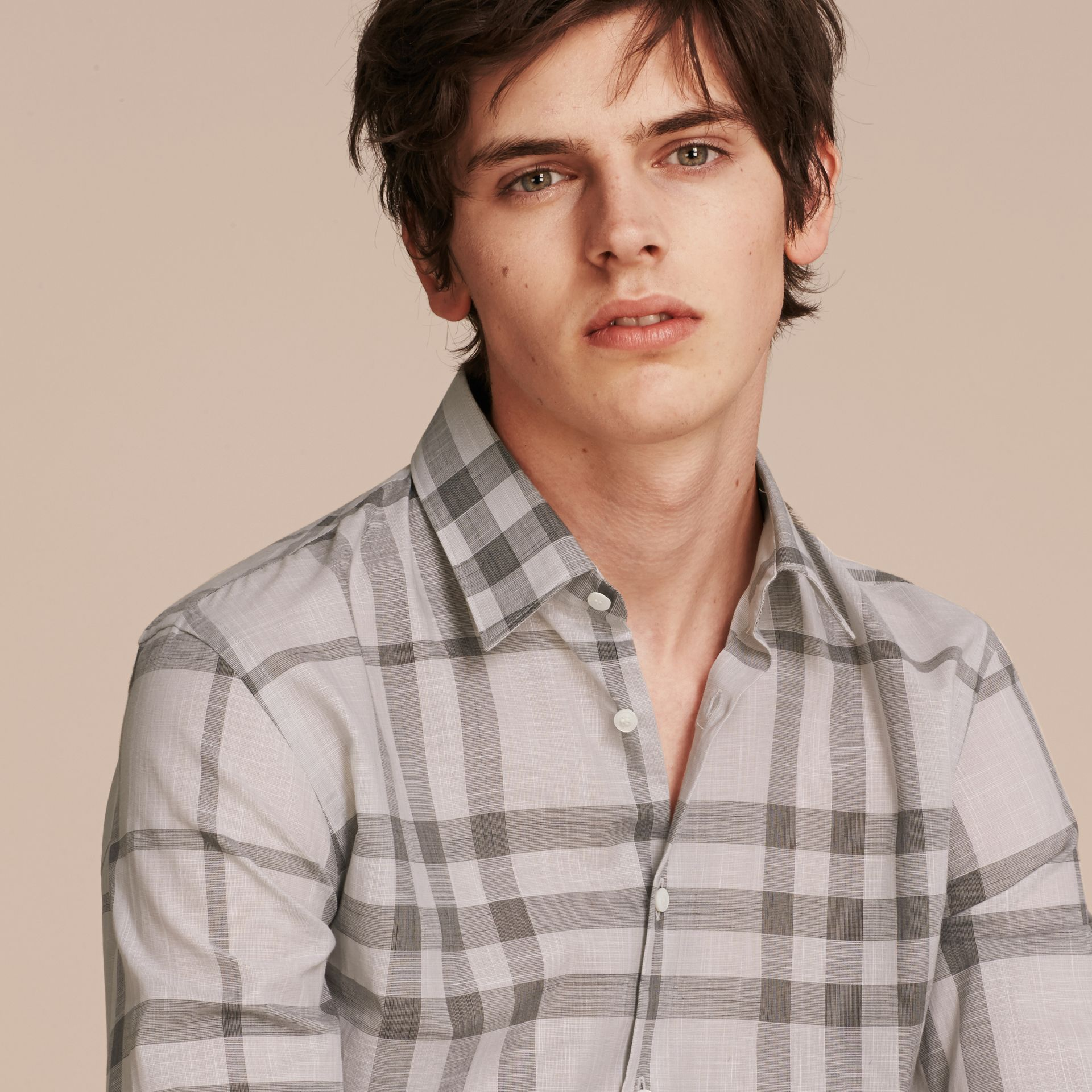 Check Cotton Chambray Shirt Mid Grey - gallery image 5