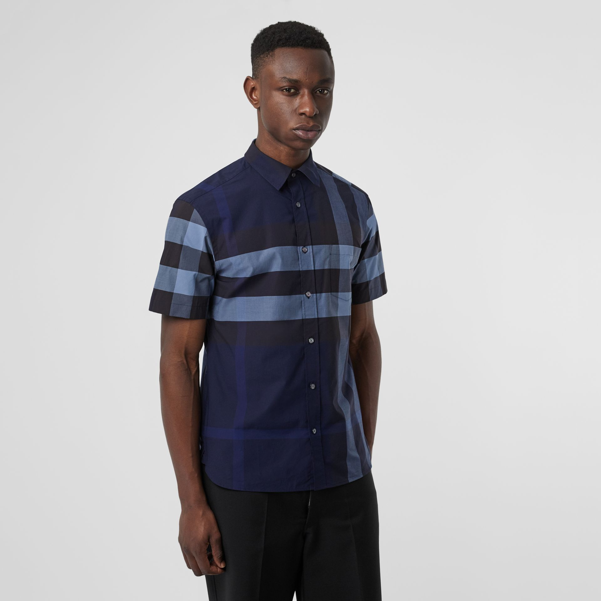 Short-sleeve Check Stretch Cotton Shirt in Bright Navy - Men | Burberry Australia - gallery image 4