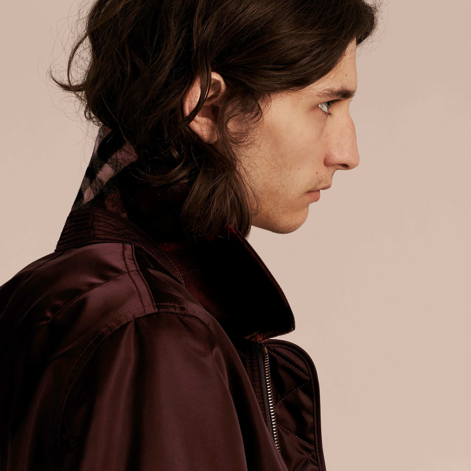 Satin Bomber Jacket with Check Undercollar in Dark Elderberry - gallery image 5