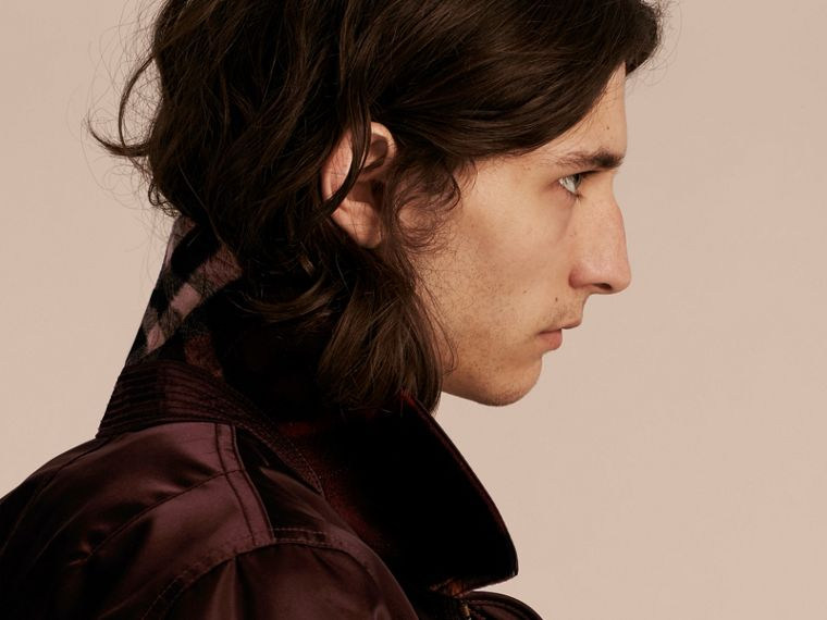 Satin Bomber Jacket with Check Undercollar Dark Elderberry - cell image 4