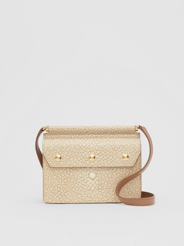 Mini Fish-scale Print Title Bag with Pocket Detail in Light Sand