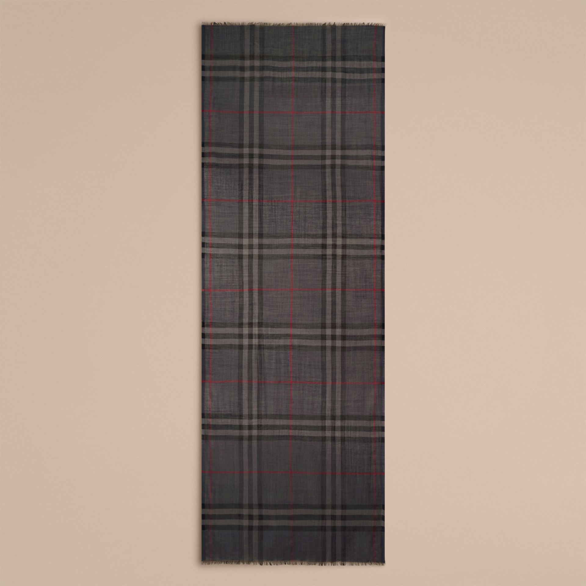 Lightweight Check Wool and Silk Scarf in Charcoal - gallery image 5