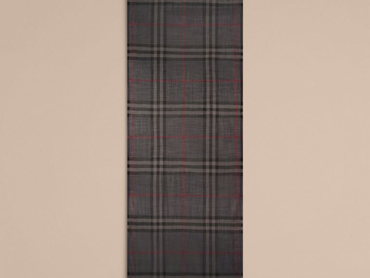 Lightweight Check Wool and Silk Scarf Charcoal - cell image 4