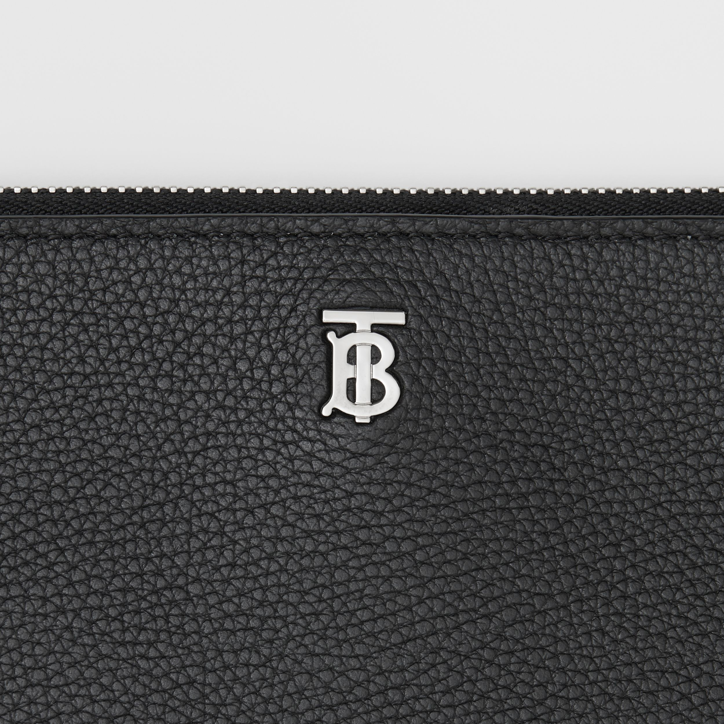 Large Monogram Motif Grainy Leather Zip Pouch in Black | Burberry - 2