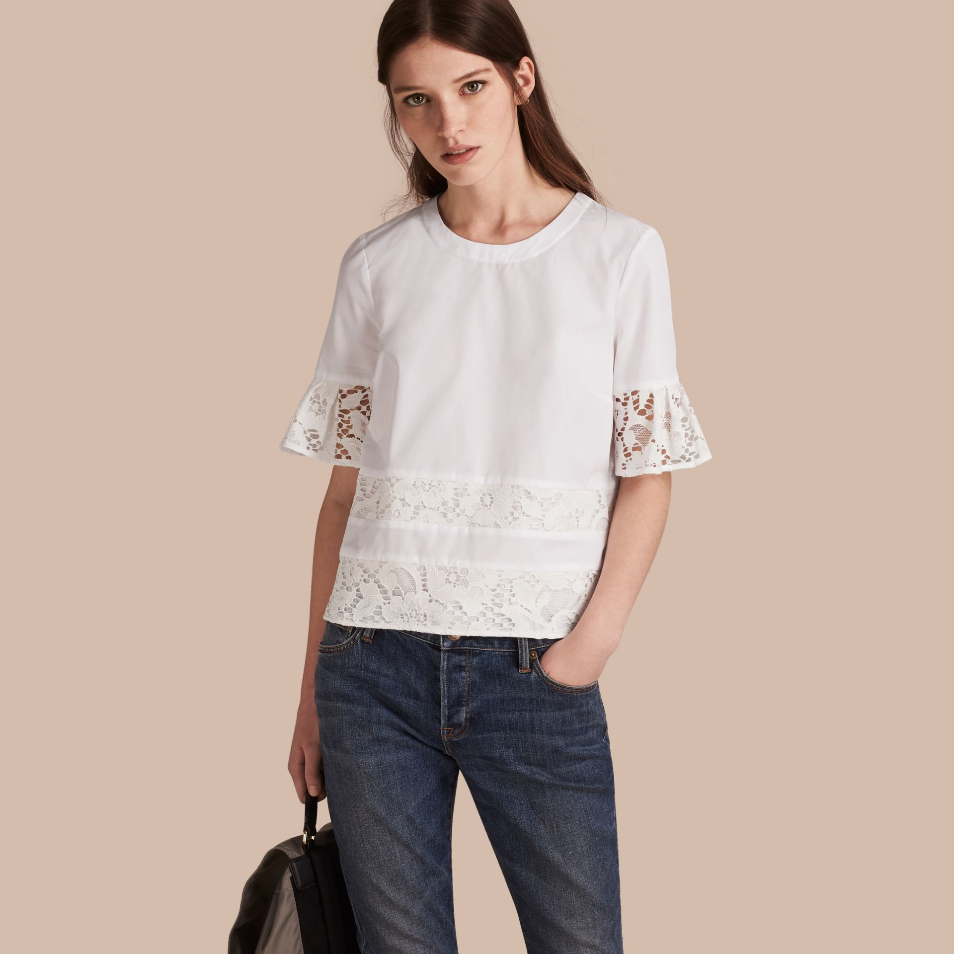 White Lace Detail Cotton T-shirt - gallery image 1