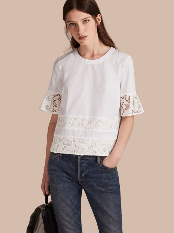 Lace Detail Cotton T-shirt