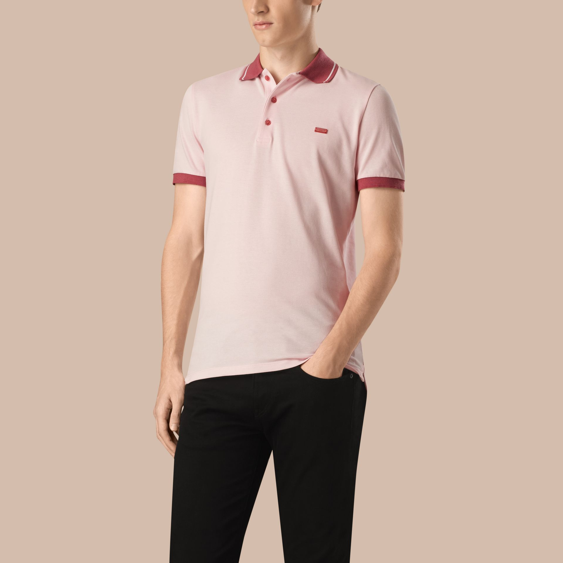 City pink/white Contrast Trim Cotton Piqué Polo Shirt City Pink/white - gallery image 1