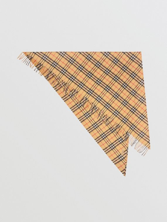 The Burberry Bandana in Vintage Check Cashmere in Antique Yellow 4c31177bf2d