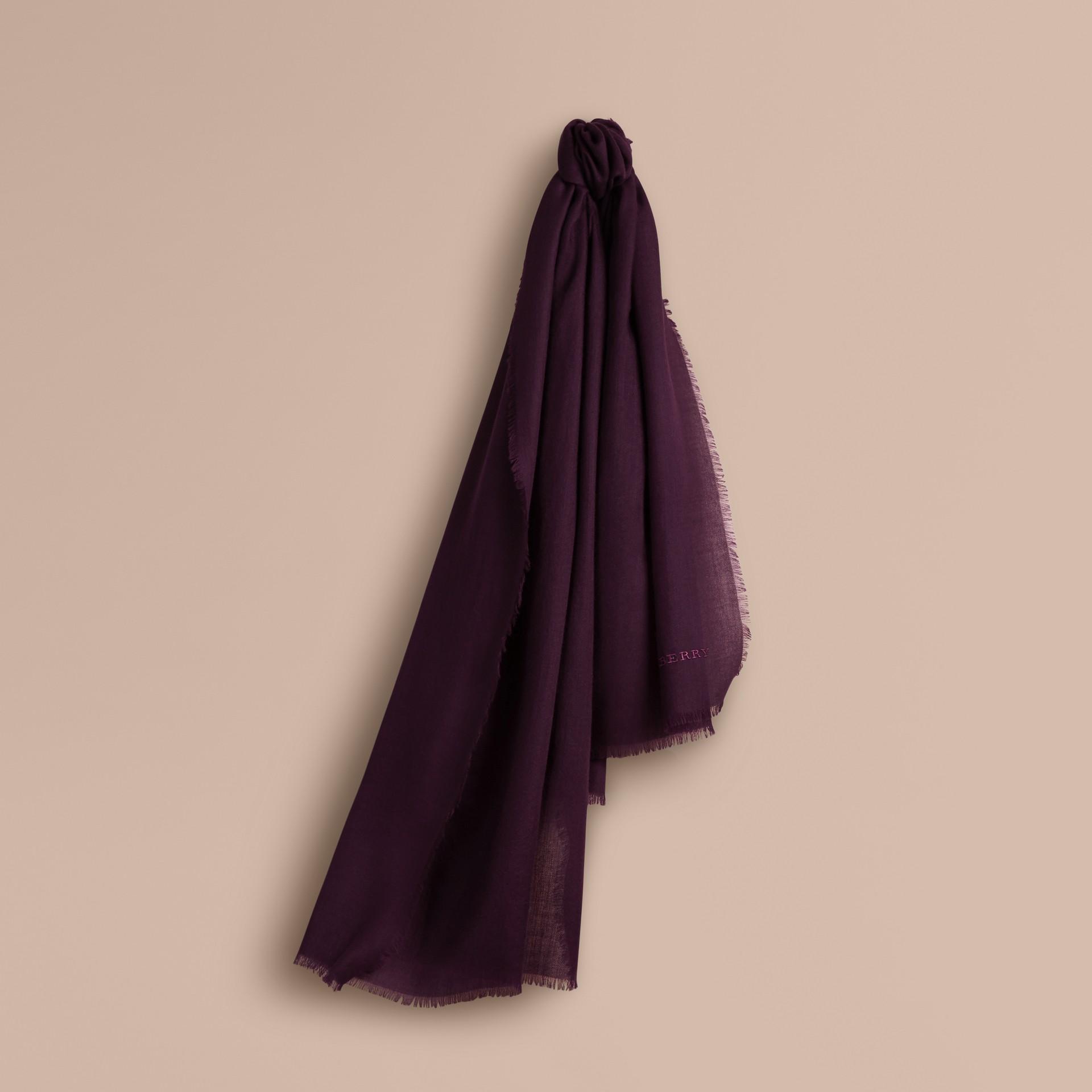Баклажан Легкий шарф из кашемира Баклажан - изображение 6