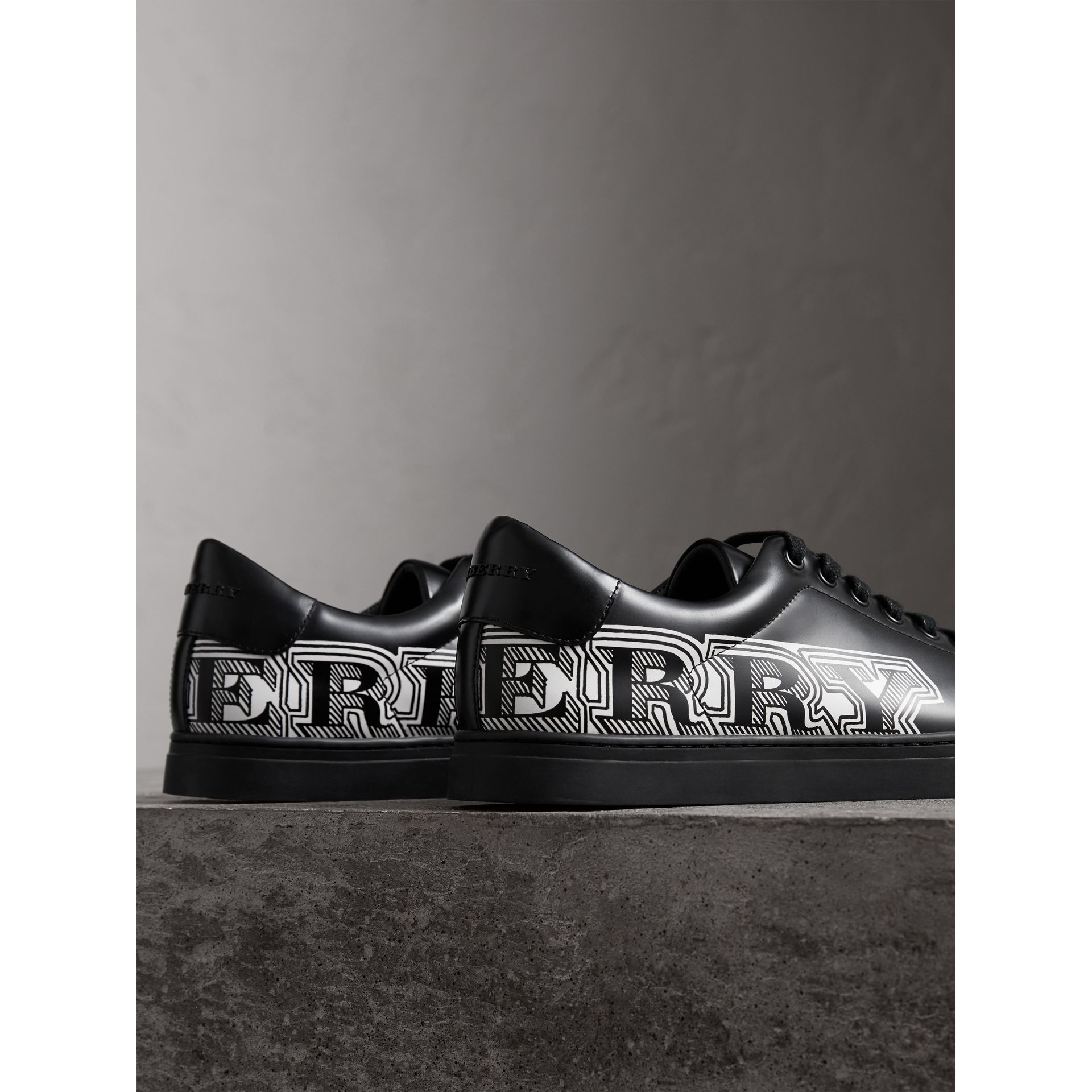 Doodle Print Leather Sneakers in Black - Men | Burberry - gallery image 3