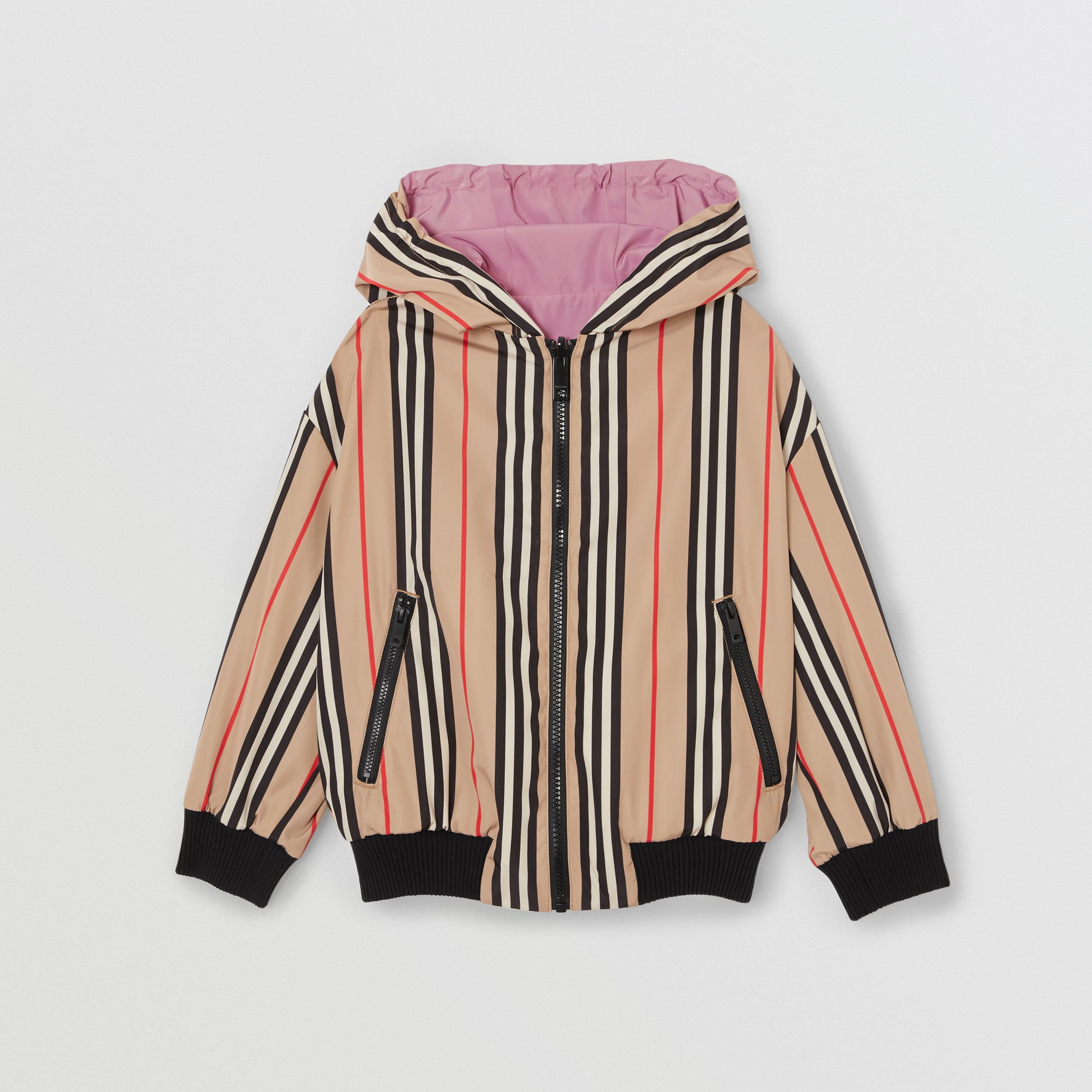 Reversible Icon Stripe Hooded Jacket in Pale Mauve | Burberry - 4