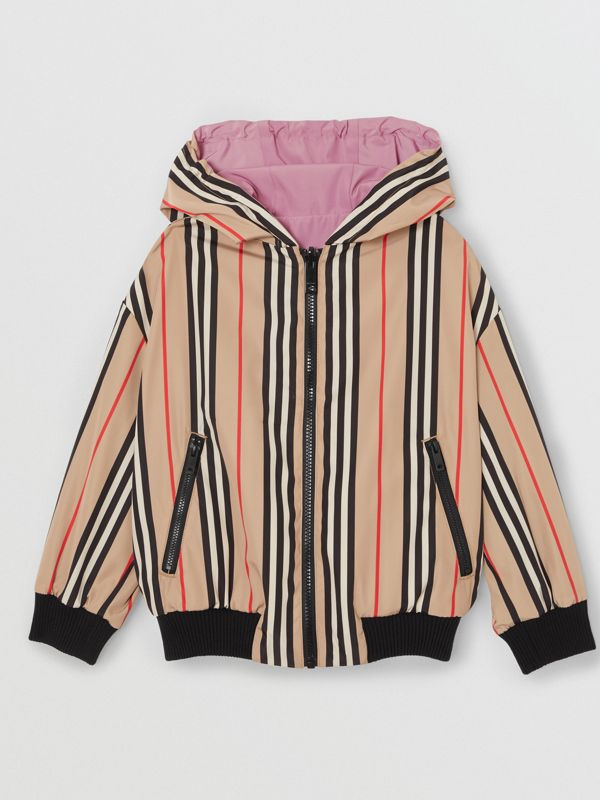 Reversible Icon Stripe Hooded Jacket in Pale Mauve | Burberry - cell image 3
