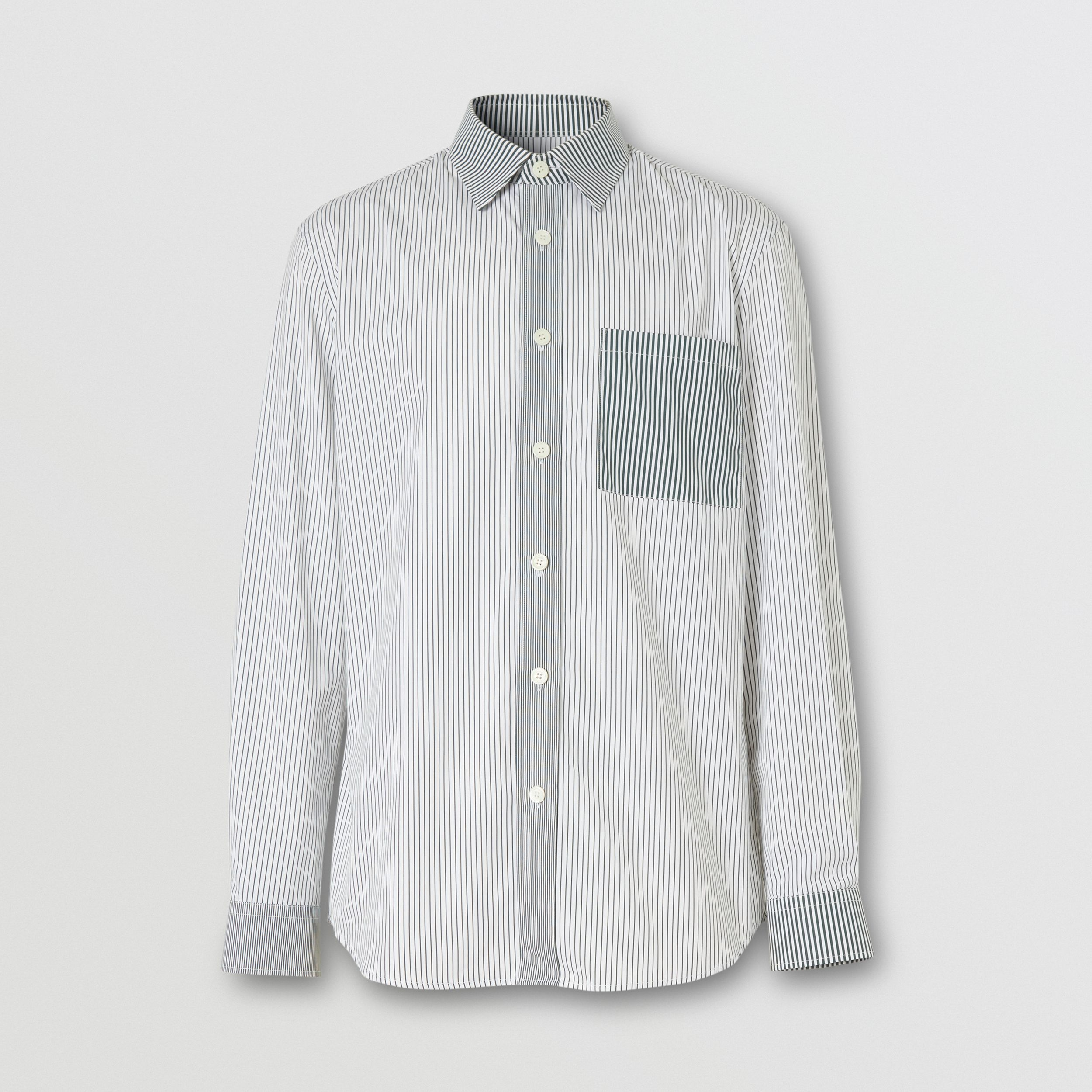 Classic Fit Contrast Stripe Cotton Shirt in Dark Pine Green - Men | Burberry - 4