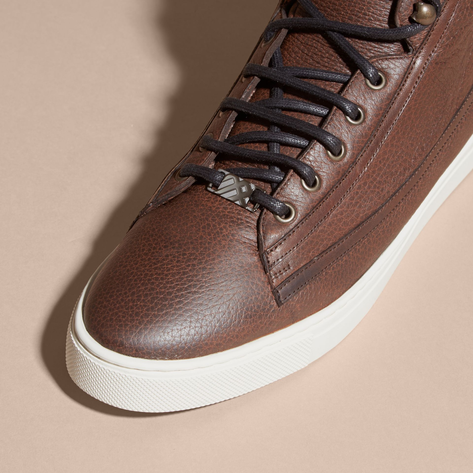 Bitter chocolate Shearling Lined Leather High-top Trainers - gallery image 2