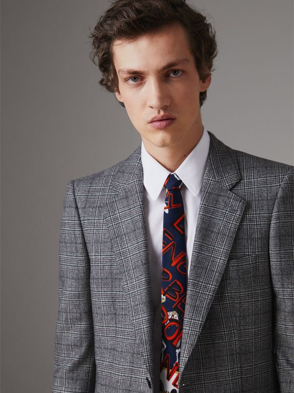 Slim Cut Graffiti Print Silk Tie in Navy - Men | Burberry - cell image 2