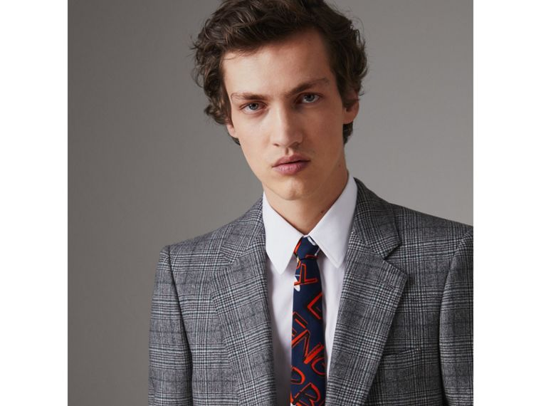 Slim Cut Graffiti Print Silk Tie in Navy - Men | Burberry Singapore - cell image 2