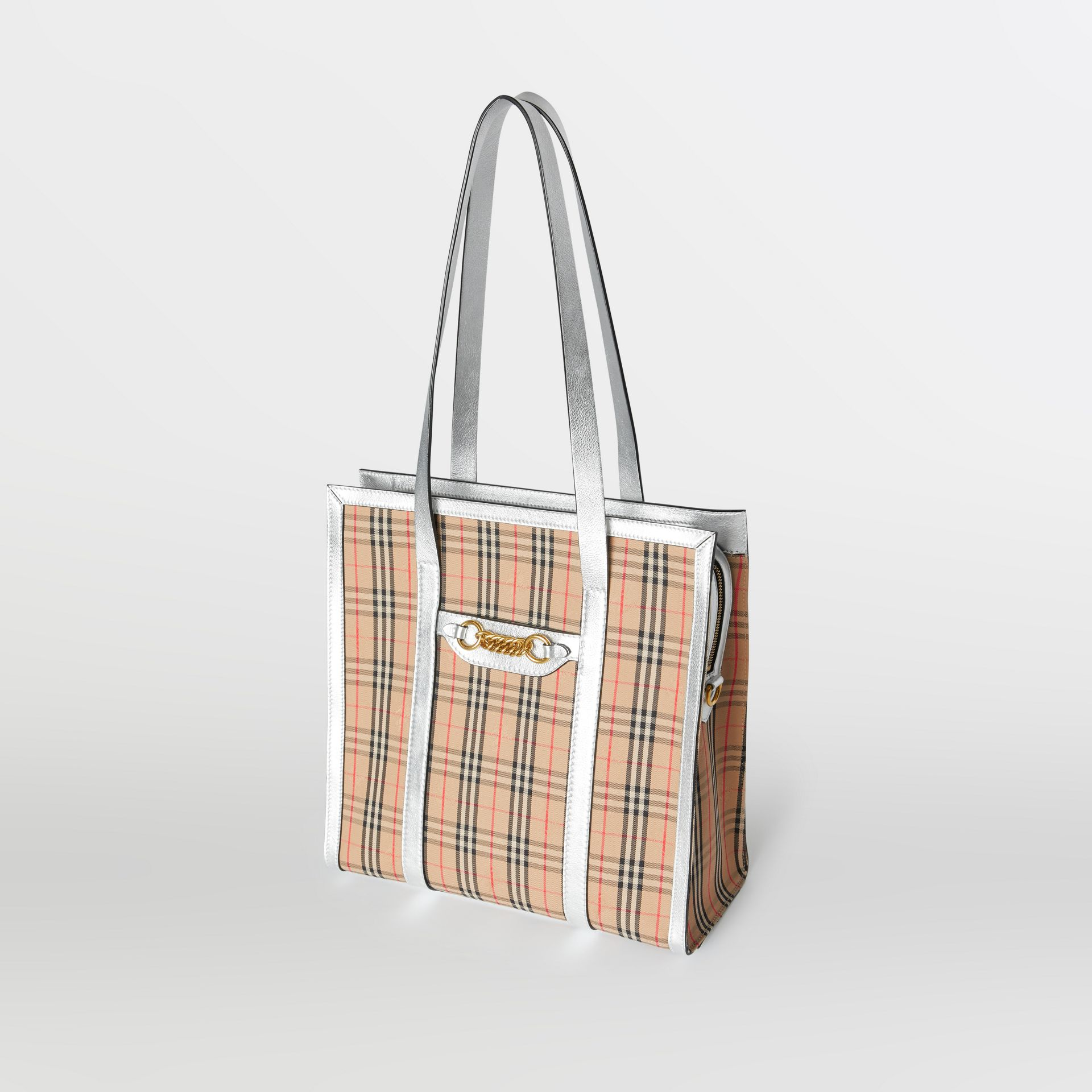 The Small 1983 Check Link Tote Bag in Silver - Women | Burberry Singapore - gallery image 4