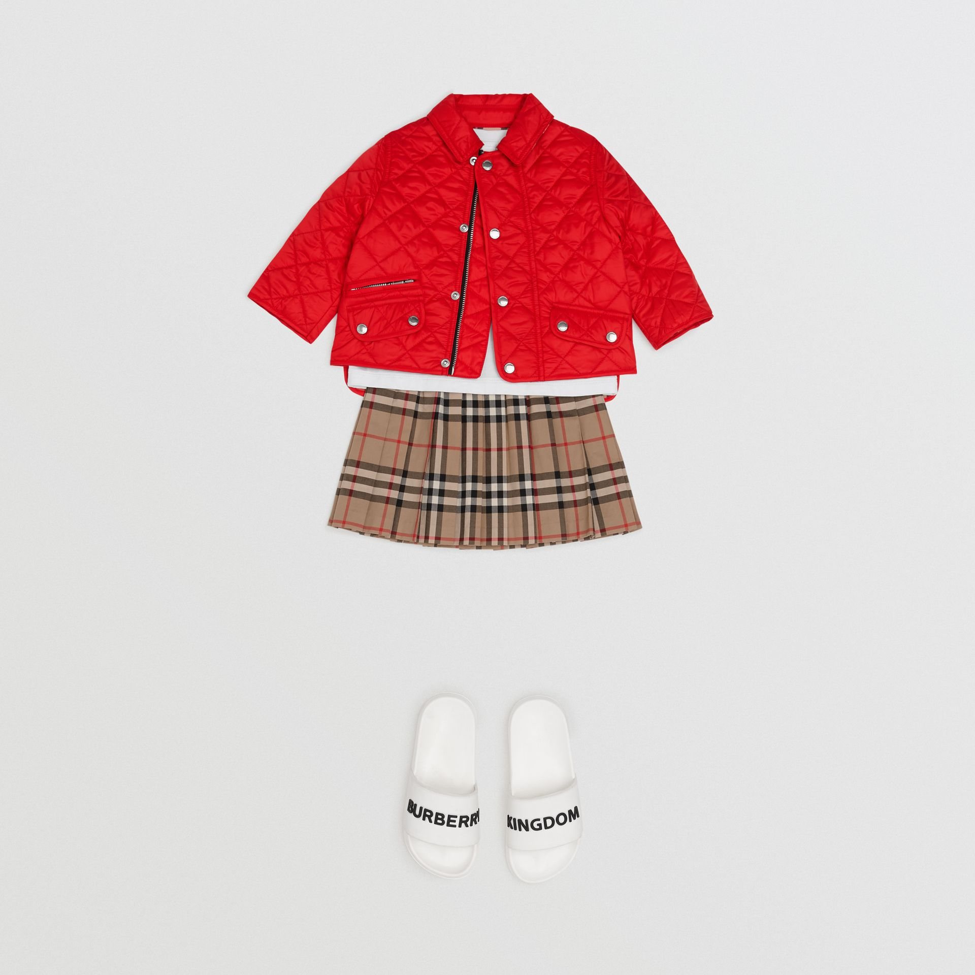 Lightweight Diamond Quilted Jacket in Bright Red - Children | Burberry Australia - gallery image 2