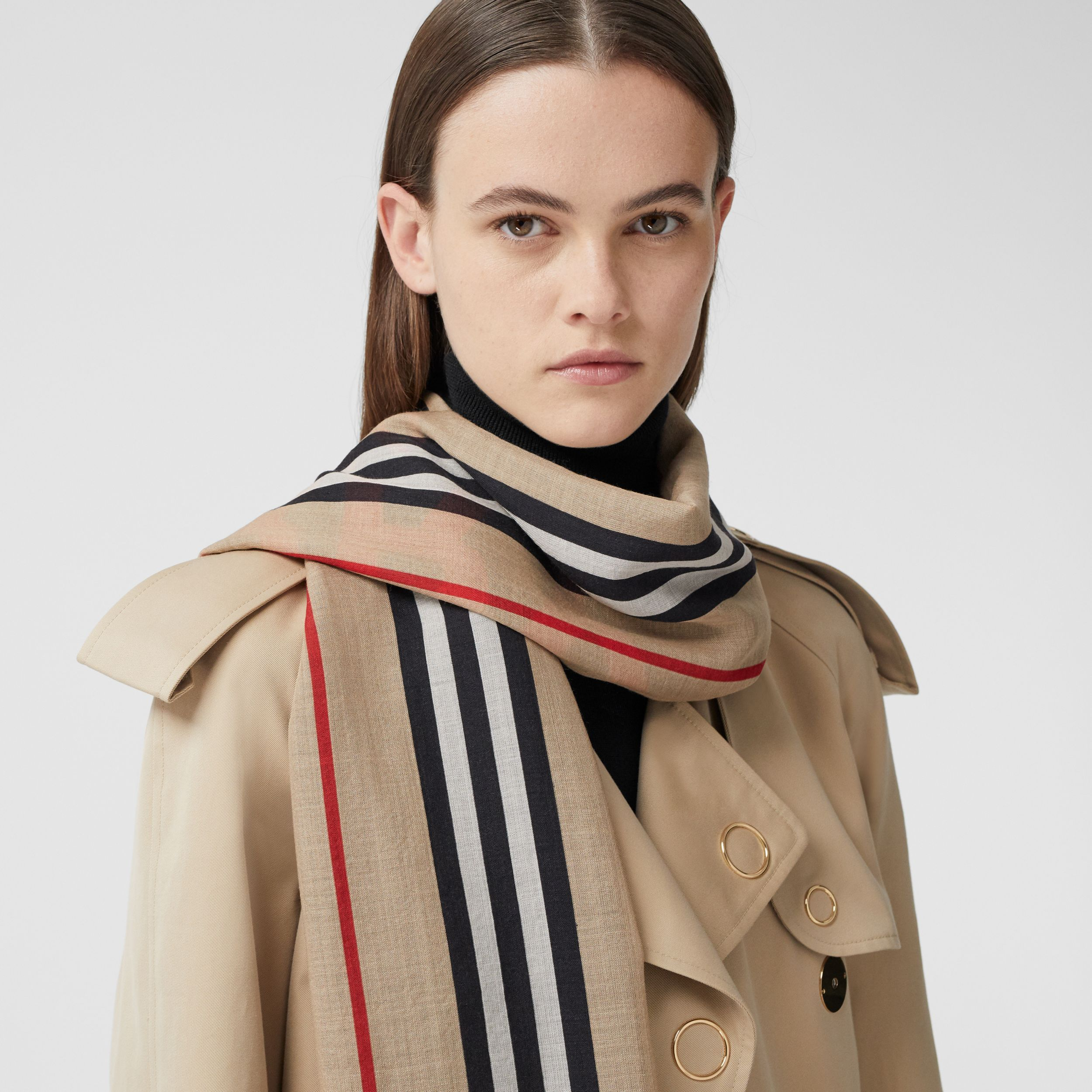 Horseferry Print and Icon Stripe Silk Wool Scarf in Archive Beige | Burberry - 3