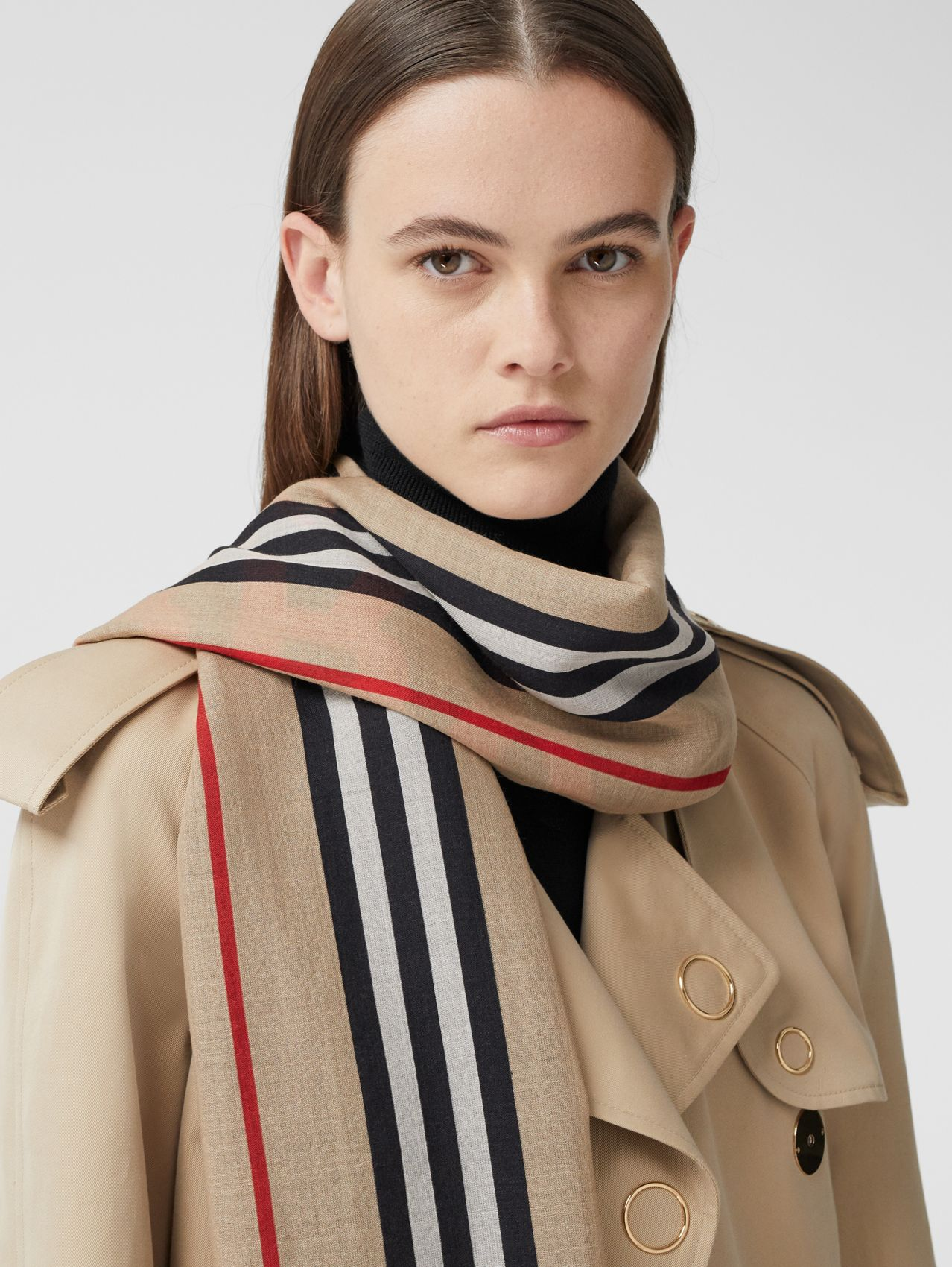 Horseferry Print and Icon Stripe Silk Wool Scarf in Archive Beige