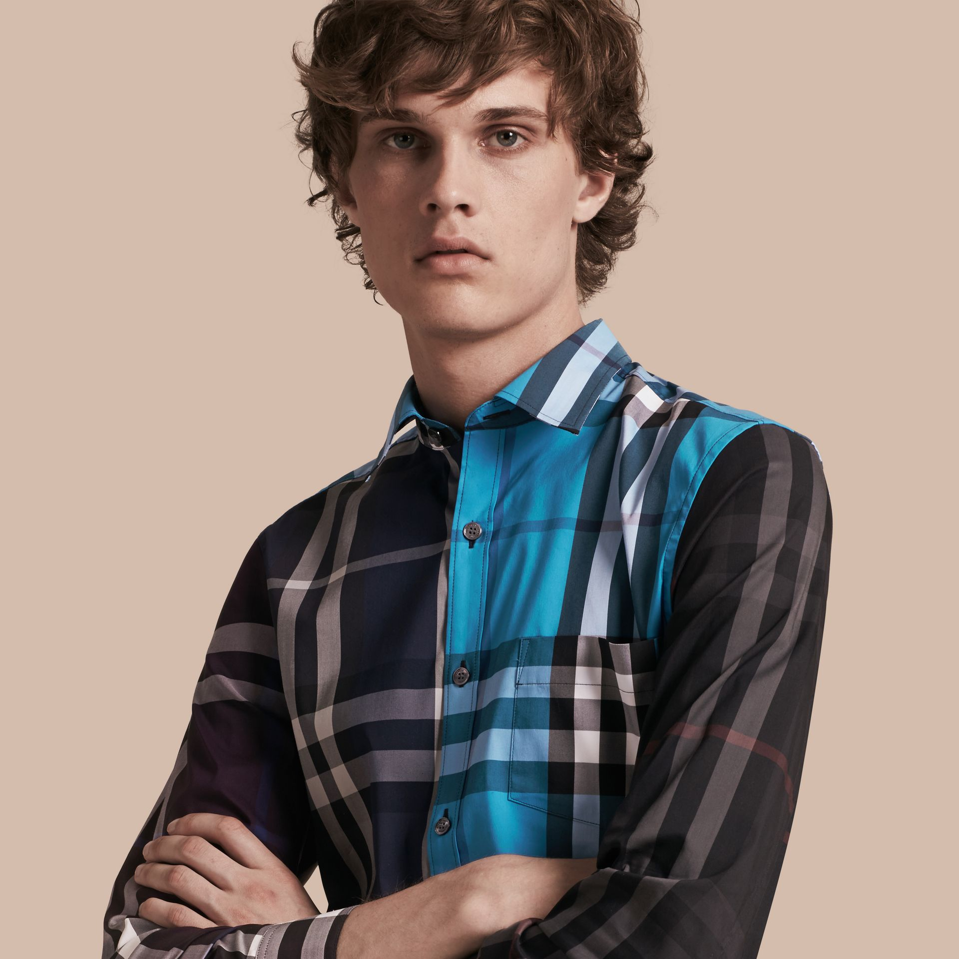 Ink Colour Block Check Cotton Blend Shirt Ink - gallery image 1