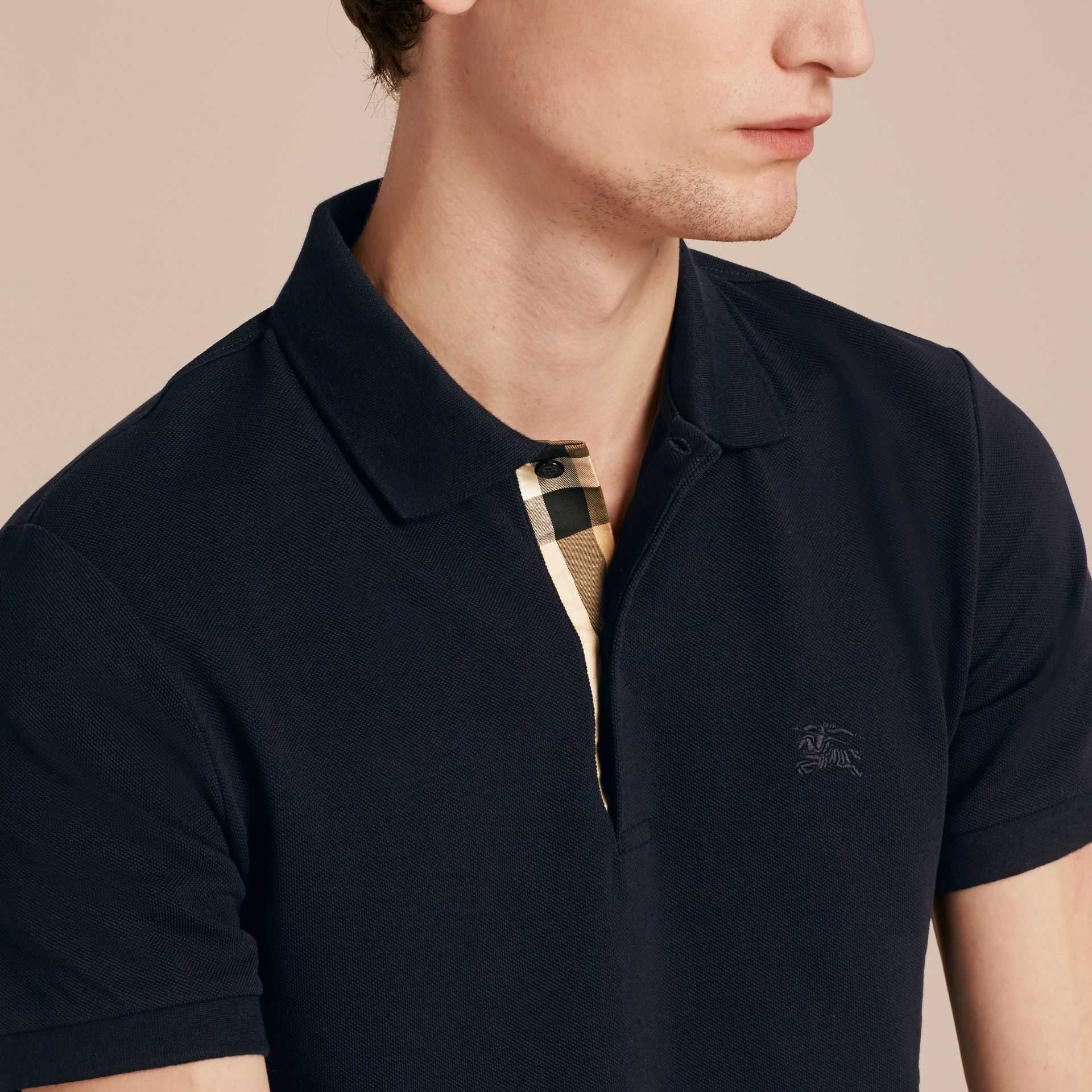 Dark navy Check Placket Cotton Piqué Polo Shirt Dark Navy - gallery image 5