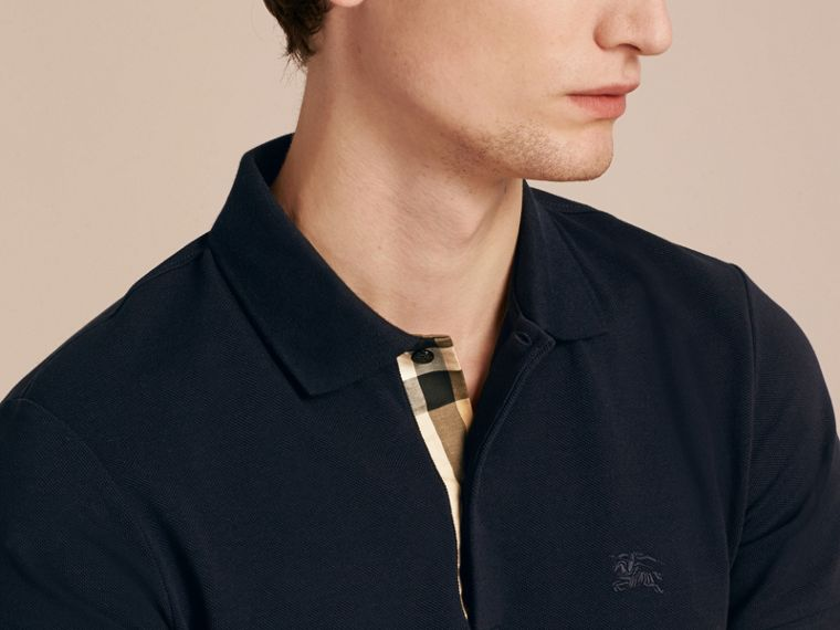 Check Placket Cotton Piqué Polo Shirt in Dark Navy - cell image 4