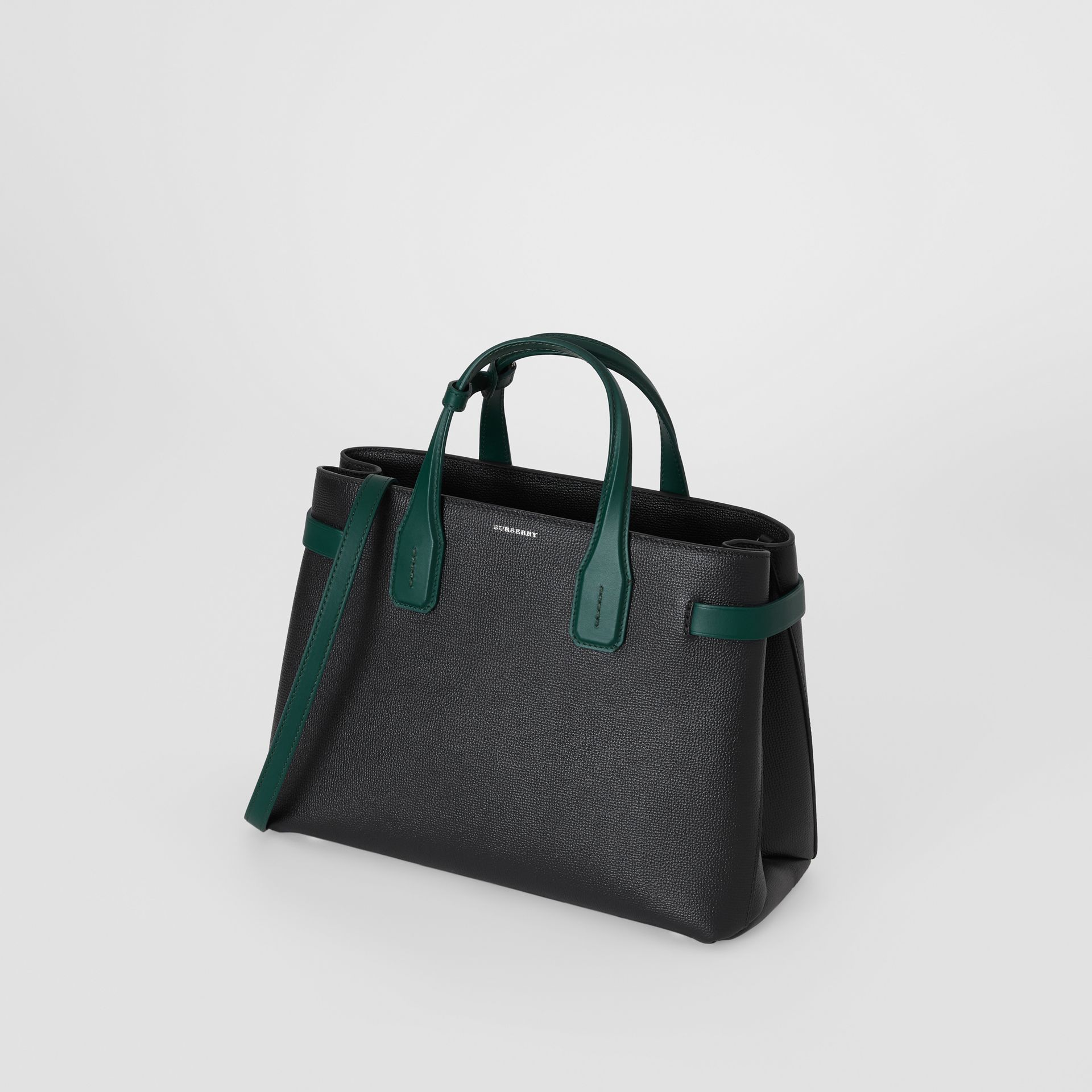 The Medium Banner in Two-tone Leather in Black/sea Green - Women | Burberry United States - gallery image 4