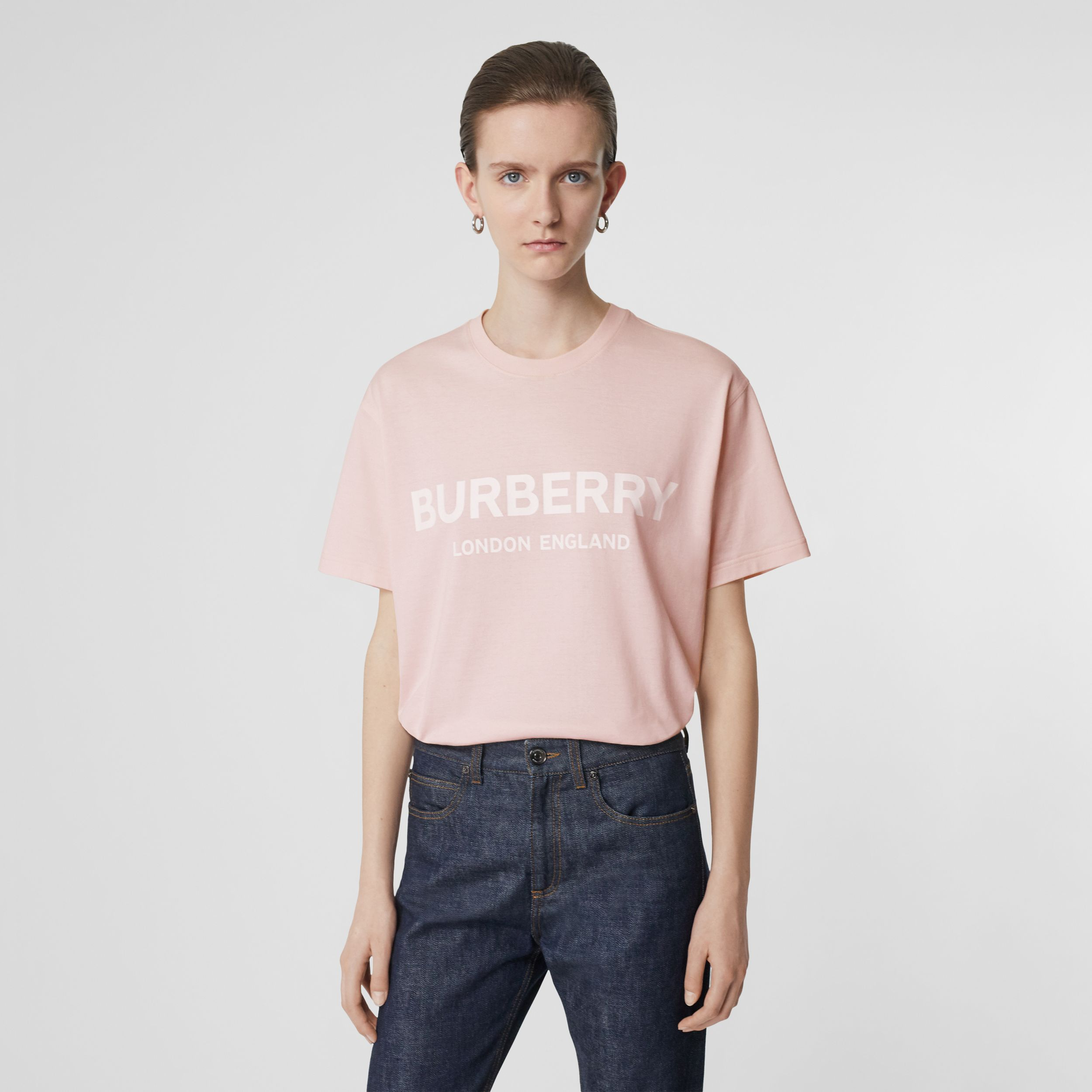 Logo Print Cotton Oversized T-shirt in Alabaster Pink - Women | Burberry - 1