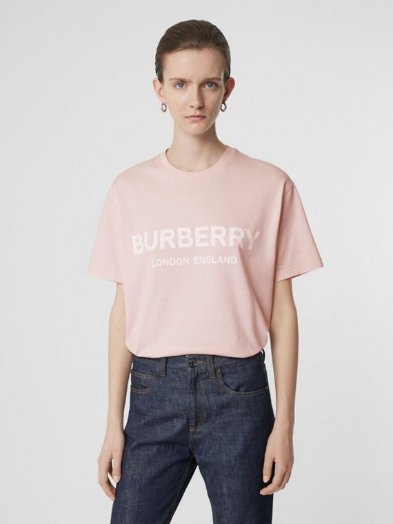 Logo Print Cotton Oversized T-shirt in Alabaster Pink