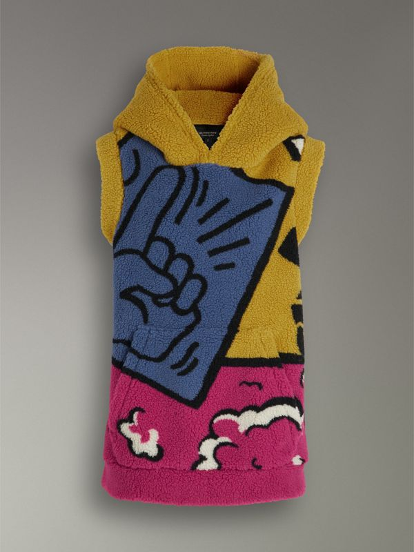 Poster Graphic Fleece Jacquard Sleeveless Hoodie in Bright Pink - Women | Burberry United Kingdom - cell image 3