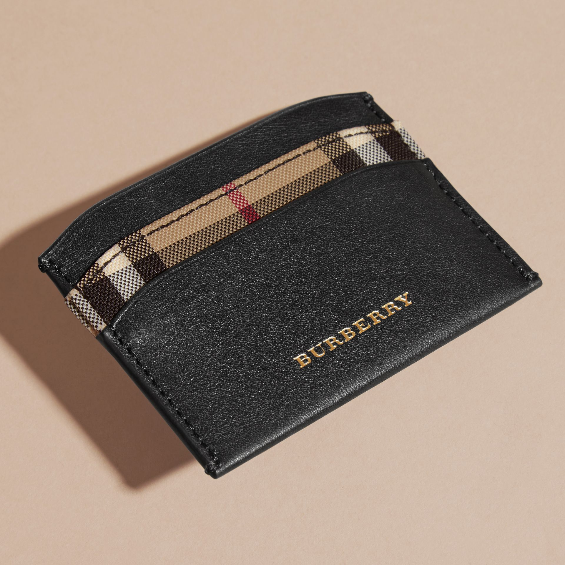 Check and Leather Card Case in Black - Women | Burberry United Kingdom - gallery image 1