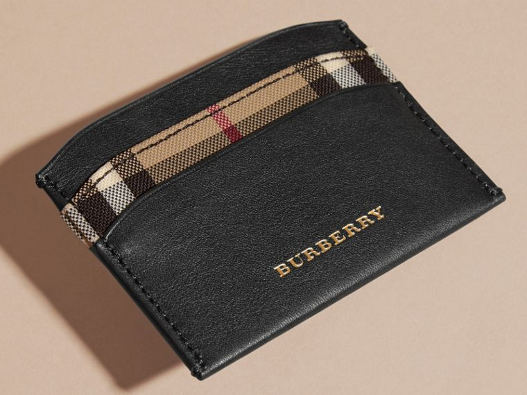 Check and Leather Card Case in Black - Women | Burberry - cell image 1