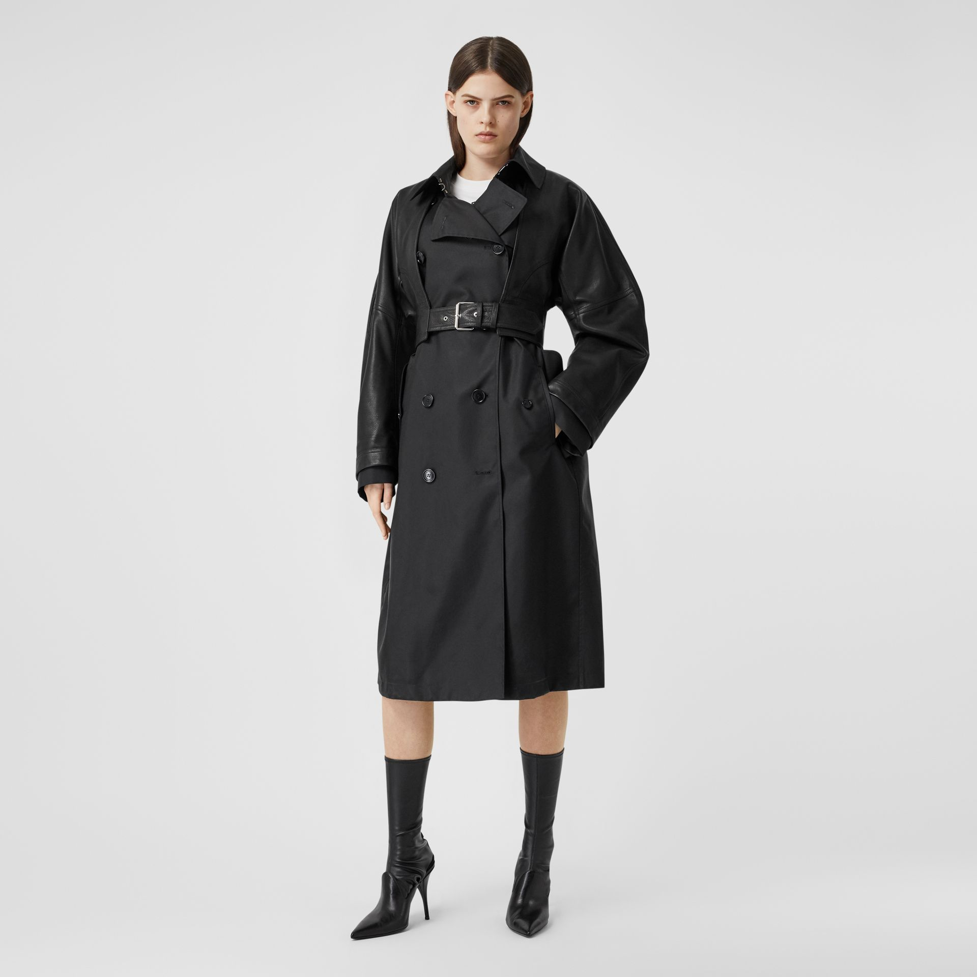ECONYL® Trench Coat with Detachable Leather Jacket in Black - Women | Burberry - gallery image 0