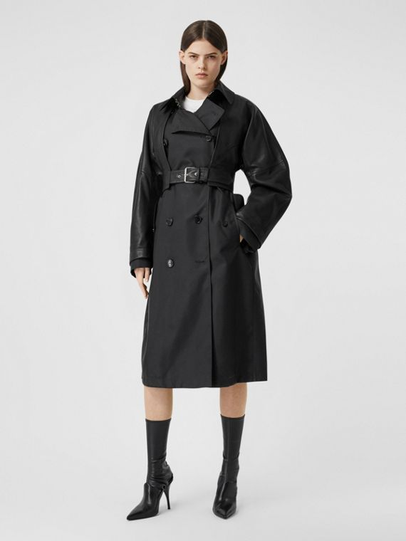 ECONYL® Trench Coat with Detachable Leather Jacket in Black