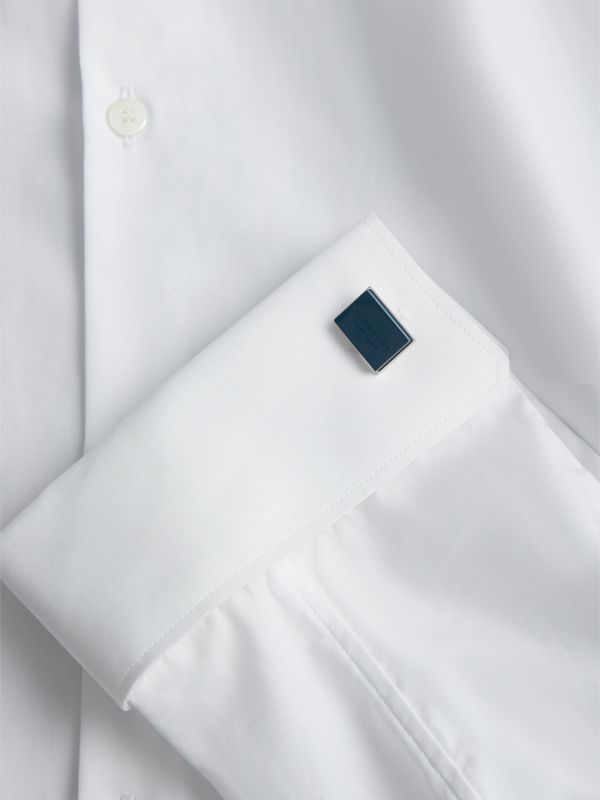 Engraved Enamel Cufflinks in Regency Blue - Men | Burberry United Kingdom - cell image 2