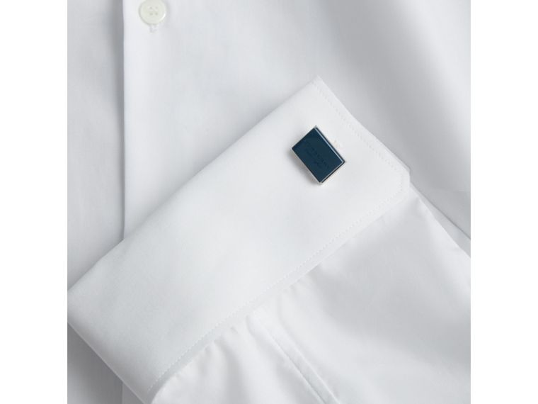 Engraved Enamel Cufflinks in Regency Blue - Men | Burberry - cell image 2
