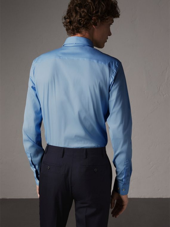 Slim Fit Stretch Cotton Poplin Shirt in City Blue - Men | Burberry Canada - cell image 2