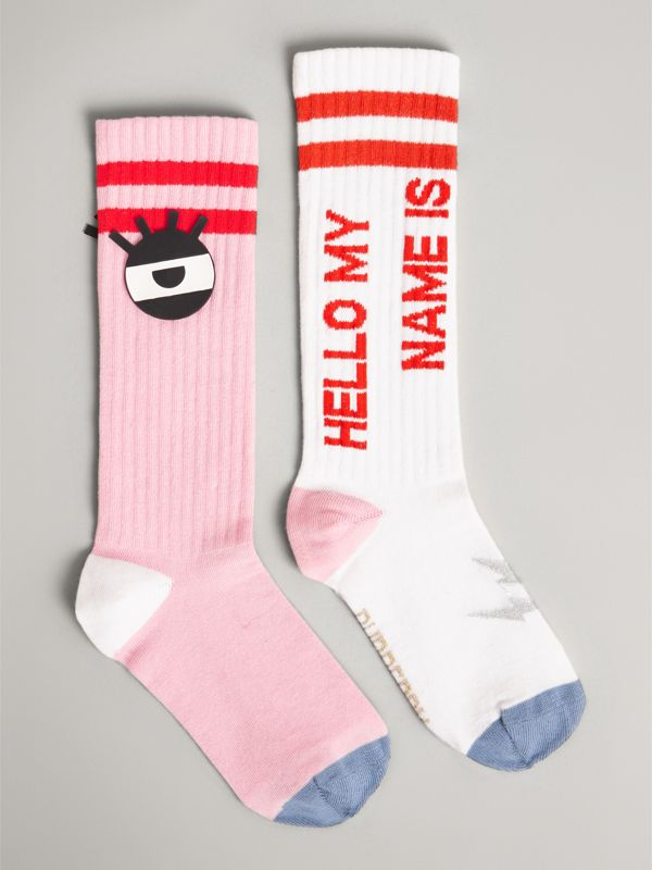 Eye Appliqué and Patch Detail Cotton Blend Socks in Pink | Burberry Singapore - cell image 3