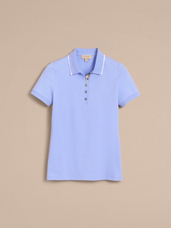 Lace Trim Cotton Blend Polo Shirt with Check Detail in Pale Cornflower Blue - Women | Burberry - cell image 3