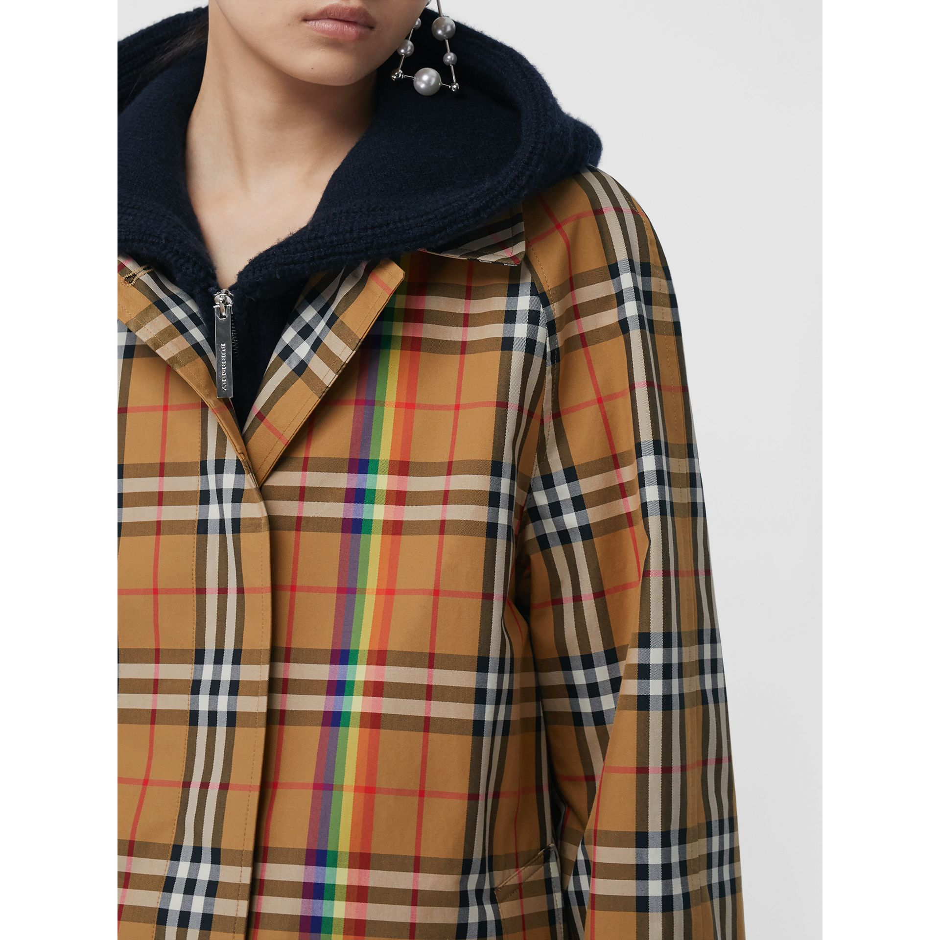 Rainbow Vintage Check Car Coat in Multicolour - Women | Burberry United Kingdom - gallery image 4